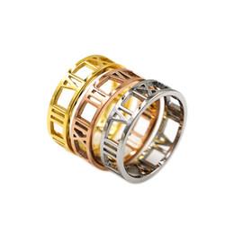 $enCountryForm.capitalKeyWord Australia - Stylish minimalist roman numerals zircon gold couple rings for man and woman Fashion brand designer classic jewelry for women
