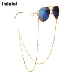 d1ec6057161d Stainless Steel Metal Sunglasses Lanyard Strap Necklace White Pearl Flower  Eyeglass Reading Glasses Chain Cord Glasses Ropes