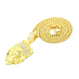 Lion pendant chains online shopping - New Arrival Hip Hop Crown Lion Crystal Pendant Necklace Long Cuba Chain Statement Jewelry For Male lion necklace