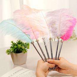 $enCountryForm.capitalKeyWord Australia - Beautiful Feather Pens Ballpoint Pen Writing for School Office Supplies Stationery Cheap Items Cute Kawaii Pen