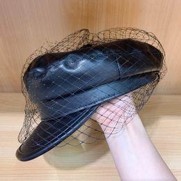 $enCountryForm.capitalKeyWord UK - New Fashion Women Black Visor Beret Hat with Fancy Veil Elegant Girl PU Newsboy Hat Cap for Ladies Merino Winter Fall Spring