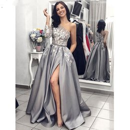 grey satin evening gown Australia - Grey Satin Evening Gown 2019 A-Line Sexy Split White Lace Long Prom Dresses with Pockets One Shoulder Long Sleeves Evening Gowns