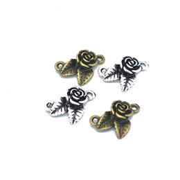 China 300PCS lot rose connector charms pendant antique silver & bronze tone for DIY craft jewelry making 20*14mm suppliers