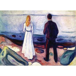 Human Oil Painting Australia - Two Human Beings (The Lonely Ones) by Edvard Munch Oil paintings on canvas hand painted High quality