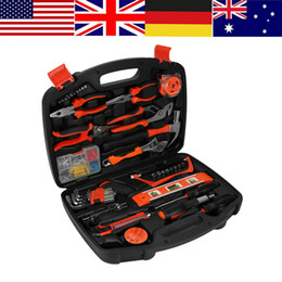 tool box screwdriver set NZ - WALFRONT 102pcs Box Household Repair Tools Kit DIY Handy Screwdriver Knife Set Hammer Plier Case Multi-functional Hand Tools Set