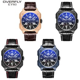 $enCountryForm.capitalKeyWord Australia - Men's Watch Big Bamboo ribbed leather strap Mechanical movement Personality case Fashion trend cool blue glass Mechanical watch