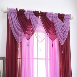 $enCountryForm.capitalKeyWord UK - 1 Pcs 45*45cm Fashion Modern Voile Curtain Swags Colours Pelmet Valance Net Curtains Voile Swag