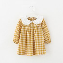 Cotton Newborn Gowns Australia - Baby clothes plaid casual newborns infant costumes 1st birthday party dress a-line cotton clothing baby girls princess dresses