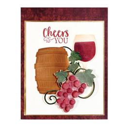 Ingrosso Calice di botte di vino dell'uva imposta metallo taglio muore stencil per scrapbooking fai da te / album di foto decorativo goffratura fai da te carte di carta