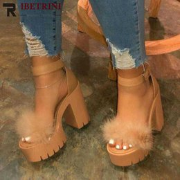 super blocks Australia - RIBETRINI Ins Women Sexy Summer Shoes Women Party Platform Block Heel Pompon Sandals 2020 Classic Sandals