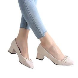 Diseñador zapatos de vestir venta caliente arco cabeza cuadrada de corte bajo talón grueso solo boca baja para dropshipping en venta