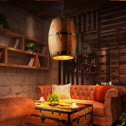wood ceiling lights Australia - 1Pcs Wood Wine Barrel Hanging Fixture Pendant Lighting Suitable For Bar Cafe Lights Ceiling Restaurant Barrel Lamp New