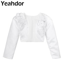 Wholesale Kids Girls D Flower Long Sleeves Bolero Jacket Shrug Short Cardigan White Sweater Dress Cover Up Months Years For