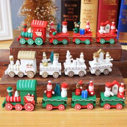 Cartoon Carriage online shopping - Christmas wooden train decoration Christmas cute wooden carriage train ornament carnival decoration kids Christmas gift toys