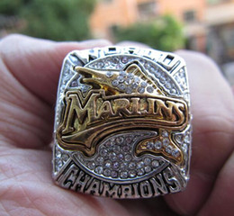 men s gift sets Australia - Miami 2003 Marlin s Baseball Team Championship Ring Set With Wooden Box Souvenir Men Fan Gift Wholesale 2019 2020