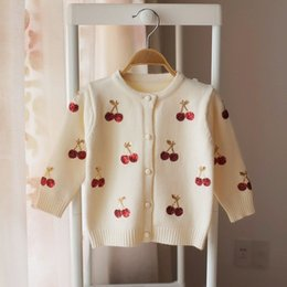 $enCountryForm.capitalKeyWord Australia - Girls Cardigans Baby Girl Clothes Cherry Pattern Girls Sweaters Kids Cardigan Autumn Winter Baby Knitted Sweater for Girls