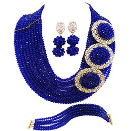 $enCountryForm.capitalKeyWord Australia - Royal Blue African Necklace Bracelet Earrings Nigerian Wedding Accessories Bridal Party Jewelry Sets 10SPH05