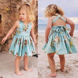 $enCountryForm.capitalKeyWord Australia - Summer New Fashion Newborn Infant Baby Girls Backless Lacing Floral Print Bow Romper Dress Sundress Wholesale Free Ship Z4