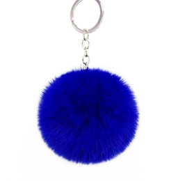$enCountryForm.capitalKeyWord Australia - Key Chain Accessories for Women Faux Fur Ball Charm with Key Ring