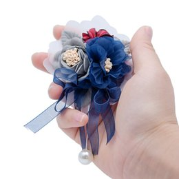 $enCountryForm.capitalKeyWord Australia - Prom Cloth Rose Flower Party Flower Wedding Boutonniere Hot Pink Bridesmaid Corsage Hand Flowers For Marriage Accessories