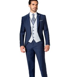 $enCountryForm.capitalKeyWord UK - Navy Blue Mens Suit Prom Party Suit Jacket+Pants+Vest 3 Pieces Groom Tuxedo One Button Wedding