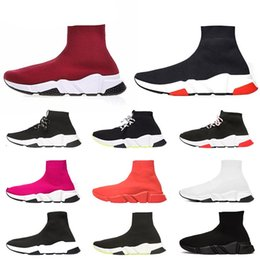 rose lace white Australia - Designer Speed Trainer Casual Socks Shoes Wine Red White Black Red Rose Pink Glitter Breathable Sneakers Mens Women Size 36-45