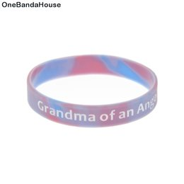 $enCountryForm.capitalKeyWord Australia - 100PCS Lot Grandma of an Angel Silicone Wristband Simple Decoration Bracelet Ink-Filled Logo Mix Color Bangle