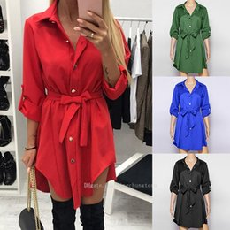 $enCountryForm.capitalKeyWord Australia - Hot Spring Long Sleeve Blouse Shirt Dress With Belt Women Oversized Midi Dress Retro Tunic Casual Office Work Vestidos shirt dress