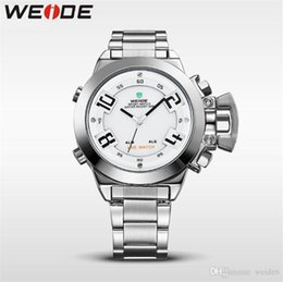Discount sport weide led watch - WEIDE-WH1008 men's sports watch dual movement digital + LED dual display Japanese high-end movement stainless steel