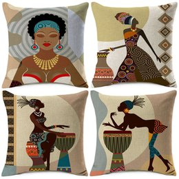 African Chairs Australia - African Lady Woman Painting Cushion Covers Africa Symbols Music Life Modern Decoration Art Linen Pillow Case Chair Seat Decoration