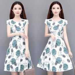 $enCountryForm.capitalKeyWord Australia - Han edition of the new short-sleeved summer long broken flower show thin dress a-line skirt bigger sizes loose women