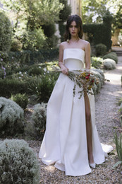$enCountryForm.capitalKeyWord Australia - 2019 Chic Simple Princess White Satin Wedding Dresses With Side Split Strapless Backless Beach Bridal Gowns Thigh-High Slit Sweep Train A6