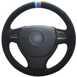$enCountryForm.capitalKeyWord Australia - Black Suede Light Blue Blue Red Marker Car Steering Wheel Cover for BMW F10 523Li 525Li 2009 730Li 740Li 750Li