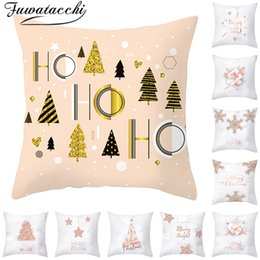 christmas pillows Australia - Fuwatacchi White Color Christmas Pillow Covers New Year Gift Cushion Cover for Home Sofa Decorative Throw Pillowcases 45*45cm