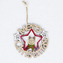 Santa Claus Christmas Ornament Australia - Wooden Crafts Door Window Party Christmas Festival Tag Hanging Ornament Hollowed-out Tree Pendant Santa Claus Elk