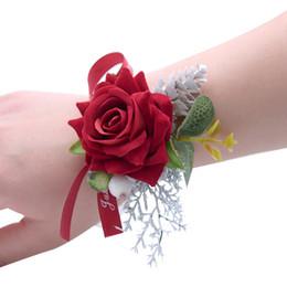 $enCountryForm.capitalKeyWord Australia - Hot Sale Wedding Wrist Flowers Party Wrist Corsage Decoration Bridesmaid Artificial Flowers Decorated Bridal Organza Ribbon