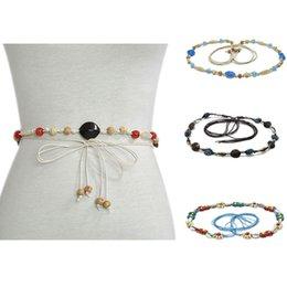 Travel Belts Australia - Women Narrow Belt Shell Measly Gemstone Waist Chain Hand Weave Girdle Bohemian Travel Dress Decorative Holiday 9 5glc D1