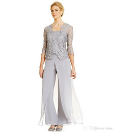 plus size mother groom pant suits UK - Plus Size Vintage Mother Of the Bride Groom Dresses With Pants Suits Long Sleeve Lace Jacket Mother Dress Formal Wear