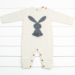 fall rompers 2019 - Newborn Boys Rompers Cute Animal Rabbit Knit Baby Girls Jumpsuits Spring Fall Infant Kids Overalls Autumn Toddler Bunny