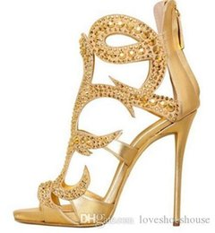 $enCountryForm.capitalKeyWord Australia - Sexy2019 Luxury Gold Crystal High Heel Sandals Women Peep Toe Cut-out Cage Shoes Back Zipper Gladiator Sandals Boot For Women Big Size