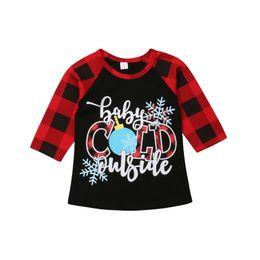$enCountryForm.capitalKeyWord Australia - Kids Boy Girl Cotton Plaid Long Sleeve Christmas T-shirt 1-6 Year Children Clothing Tee Shirt
