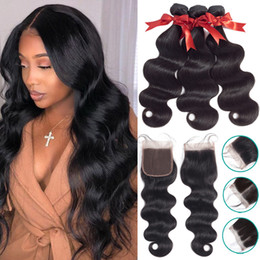 remy fashion hair weaves Australia - Brazilian Hair Weave Bundles With 4*4 Lace Closure Human Hair Bundles With Closure Non-Remy Body Wave Fashion Queen