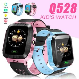 Children braCelet lost online shopping - Kids Smart Watch Q528 Children Smart Bracelet GPS Tracker SOS Light Anti Lost Wristband with SIM Card Camera for IOS Android in Box