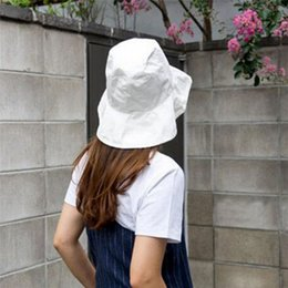 Flat brimmed hats For girls online shopping - new arrival simple Unisex Bucket Hat Female Portable Foldable Flat Solid Color Sun hat For girls Women