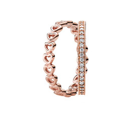 925 Sterling Ring Price Australia - 100% 925 Sterling Silver Rose Dazzling Love Ring Stack Charms rings Fit DIY Original Jewelry A set of prices