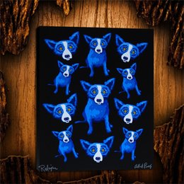 Group Oil Australia - Blue Dog Group Therapy -2,1 Pieces Canvas Prints Wall Art Oil Painting Home Decor (Unframed Framed) 24X32.