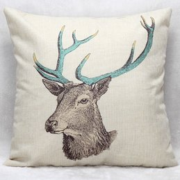 Deer Chair Australia - Hand Painting Deer Head Cushion Covers Home Bedroom Decorative Cushion Cover Linen Pillow Case For Sofa Couch Chair