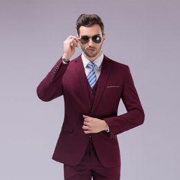 $enCountryForm.capitalKeyWord NZ - White Slim Fit Groom Tuxedos Notch Lapel Center Vent Groomsmen Mens Wedding Dresses 2019 Excellent Man Suit(Jacket+Pants+Vest)