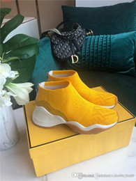 woman pvc socks Australia - Fall winter sneaker for 2019,All knit chic low-top sneakers for women ,Yellow,white socks boots height Increasing Shoes With box size 34-41