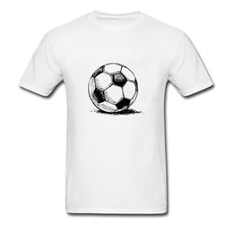 white short sleeve sweatshirts NZ - Foot Ball Drawing Men White T-shirt Casual Short Sleeve Tops & T Shirts Cotton Fabric Simple Style Sweatshirt Workout Tee
